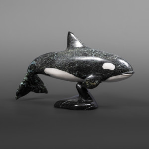 "Swimming Orca  Johnnysa Mathewsie Serpentine, arctic marble #76 9½"" x 5½"" x 3½"""