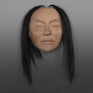 """Portrait Mask Raymond Shaw Kwakwaka'wakw Red cedar, horsehair 14"""" x 13"""" x 5½"""" $4000"""