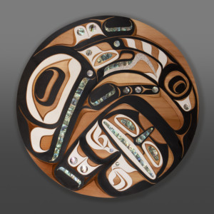 """Killerwhale Moy Sutherland Nuu-Chah-Nulth Redvcedar, abalone, paint 36"""" dia. x 2"""" $9800"""
