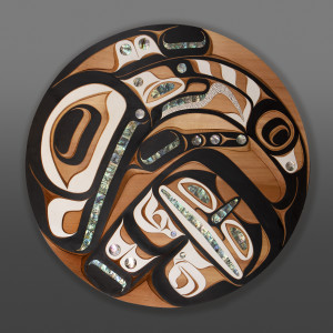 "Killerwhale Moy Sutherland Nuu-Chah-Nulth Redvcedar, abalone, paint 36"" dia. x 2"" $9800"