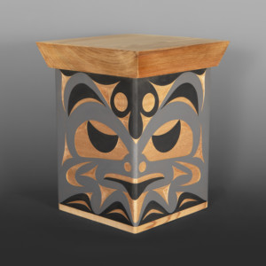 "Hawk & Mouse Box Andy Peterson  Coast Salish Red cedar, paint 12½"" x 9½"" x  9½"" $1600"