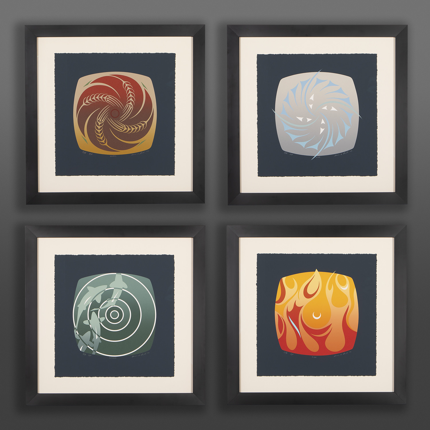 "Four Elements  Susan Point, RCA Coast Salish Serigraph, PP I/II Museum framed, 18"" x 18"" ea. $3200"