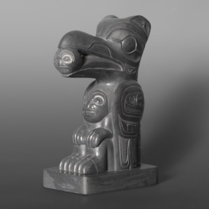 "Raven as the Boy Who Steals the Light Ed Russ (1953 – 2006) Haida Argillite 5"" x 3½"" x 2"" $4400"