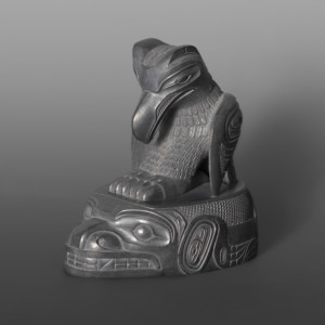 "Raven and the Bear Ed Russ (1953 – 2006) Haida Argillite 4"" x 4"" x 2½"" $4800"
