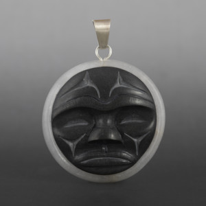 Salish Moon Dylan Thomas Coast Salish Pyrophyllite, alabaster, silver