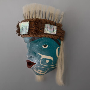 "North Wind Mask    Clinton Work Kwakwaka'wakw Red cedar, cedar bark, horsehair,  abalone,  paint   13½"" x 11"" x 9"""