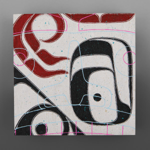 "Fishing 2 (Eagle)  Clinton Work Kwakwaka'wakw  Acrylic birch panel 8"" x 8"" x 1"" each  $550"