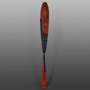 "Red & Black Paddle Steve Smith - Dla'kwagila Oweekeno Yellow cedar, paint 62"" x 5½"" x 1½"" $4600"