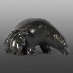 "Bear Mother & Cubs Ottokie Aningmiuq Inuit Serpentine  7"" x 5"" x 4"" 7245N $950"