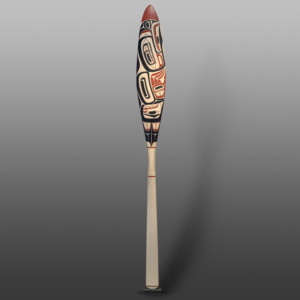 "Eagle's Passage Paddle Dylan Sanidad Tsimshian Yellow cedar, paint 60"" x 6"" x 1½"" $1600"