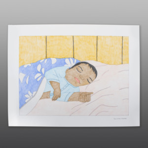 "Happy Simeonie Sleeping (My Brother's Son) Kudlaujuk Ashoona Color pencil  on paper 23"" x 30"" $800"