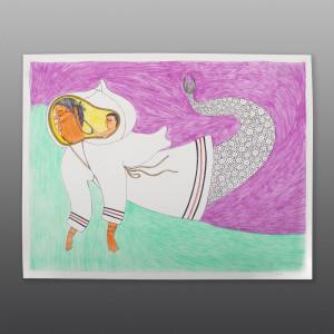 "Sedna & Her Child Ningiukulu Teevee Inuit Color pencil, ink on paper 23"" x 30"" $1450 1800"