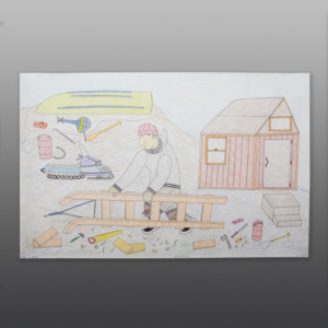 "Building a Sled Cee Pootoogook Inuit Color pencil, ink on paper 15"" x 23"" $550 400"