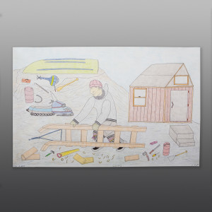 """Building a Sled Cee Pootoogook Inuit Color pencil, ink on paper 15"""" x 23"""" $550 400"""