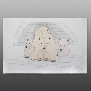 "Polar Bear Family Qavavou Manomie Inuit Color pencil, ink on paper 15"" x 23"" $1200"