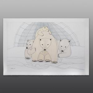 "Polar Bear Family Qavavou Manomie Inuit Color pencil, ink on paper 15"" x 23"" $1200"