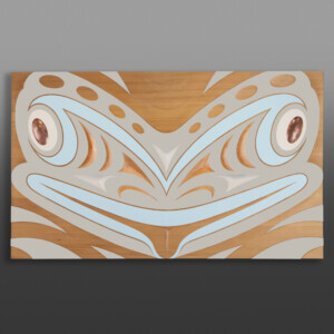"Disguised (Frog Panel) Kelly Cannell Coast Salish Red cedar, paint, copper 23 ¾"" x 39"" x 2 ½"" $6500"