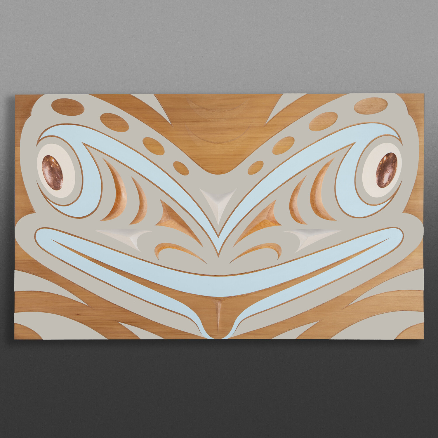 """Disguised (Frog Panel) Kelly Cannell Coast Salish Red cedar, paint, copper 23 ¾"""" x 39"""" x 2 ½"""" $6500"""