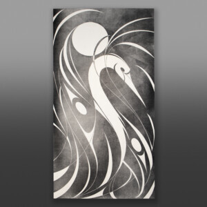 "Great Heron Kelly Cannell Coast Salish Ink on canvas 96"" x 48"" x 2"" $6900"