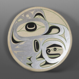 "Thunderbird Drum Art Thompson Nuu-Chah-Nuulth Dearhide, wood frame, antler, paint 15"" dia. x 2½"" $1200"