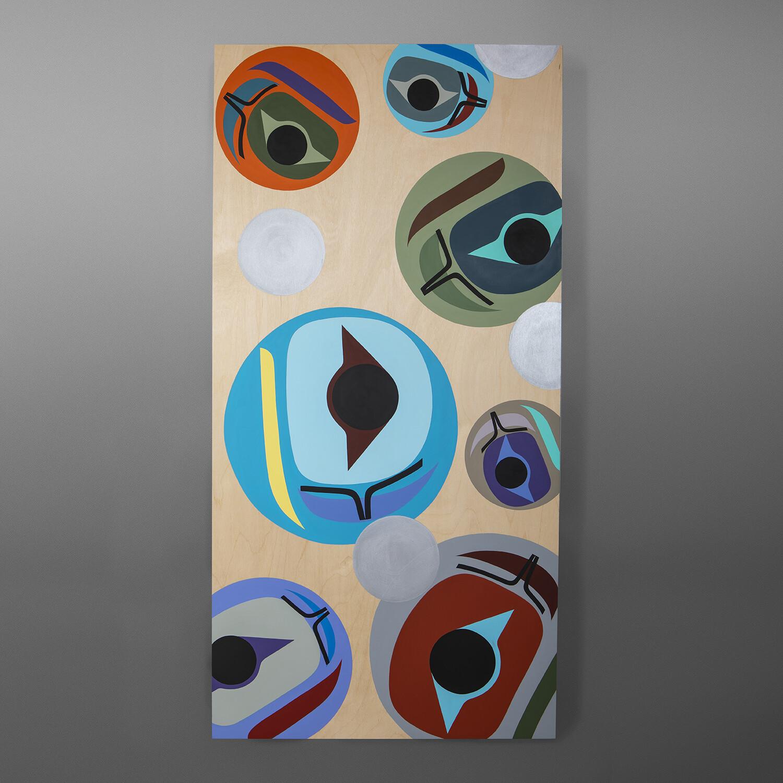 Returning (Salmon Roe) Steve Smith - Dla'kwagila Oweekeno Acrylic painting on birch panel