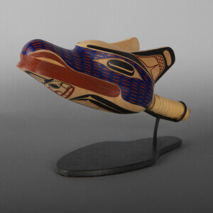 "Wolf Rattle David A Boxley Tsimshian Alder, leather, paint, beads, custom stand 12"" x 4"" x 4"" x (&""  high with stand) $5800"