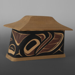 "Salmon Canoe Box Troy Bellerose Coast Salish/Cree Red & yellow cedar, paint 8"" x 5½"" x 5"" $500"