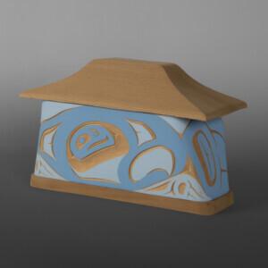"Eagle Canoe Box Troy Bellerose Coast Salish/Cree Red & yellow cedar, paint 8"" x 5½"" x 5"" $500"