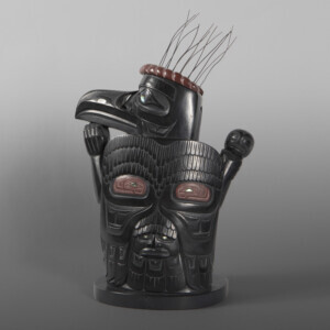 "Raven Dancer  Christian White Haida  Argillite, catlinite, abalone, mother of pearl, wire 12½ x 8½ x 5""  $25,000"