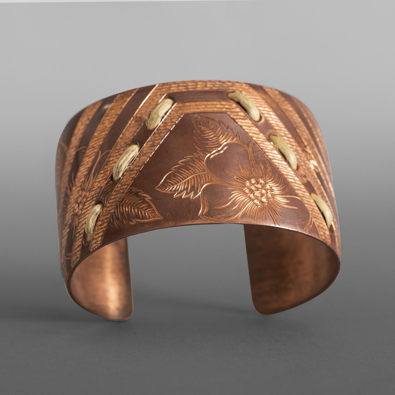 "Wildroses & Butterfly Basket Pattern Cuff Jennifer Younger Tlingit Copper, spruce root 1½"" x 5"" $600"
