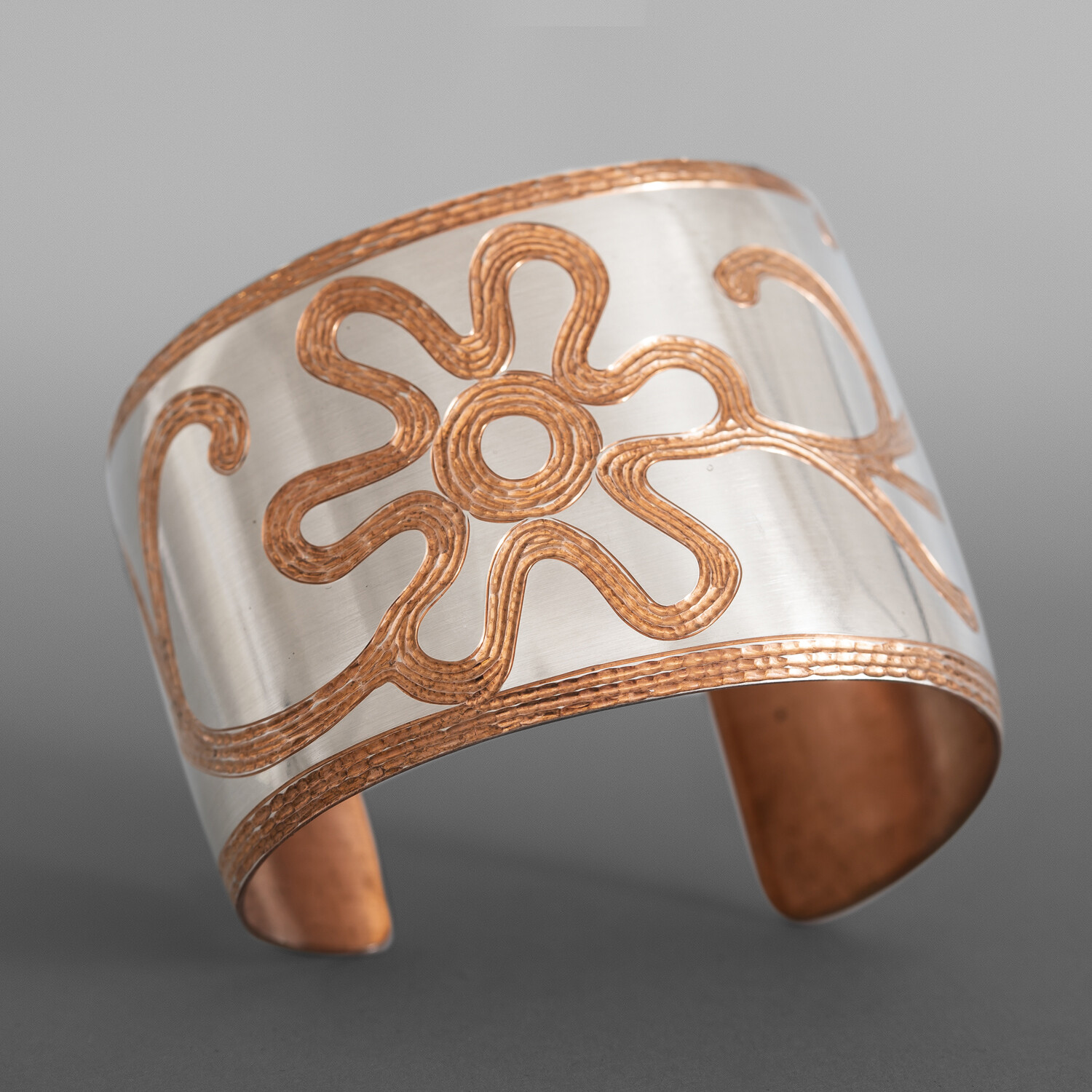 """Water is Life Bead Pattern Cuff Jennifer Younger Tlingit Copper, silver 2"""" taper to 1½"""" x 6"""" $1600"""