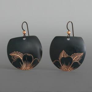 Wildrose Earrings Jennifer Younger Tlingit Black-oxide copper
