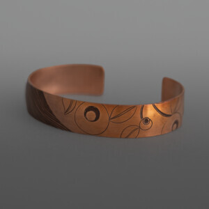 "Sharing Berries Set Jennifer Younger Tlingit Heat-patina copper 6"" x ½"" each, 5 pieces  $1750"