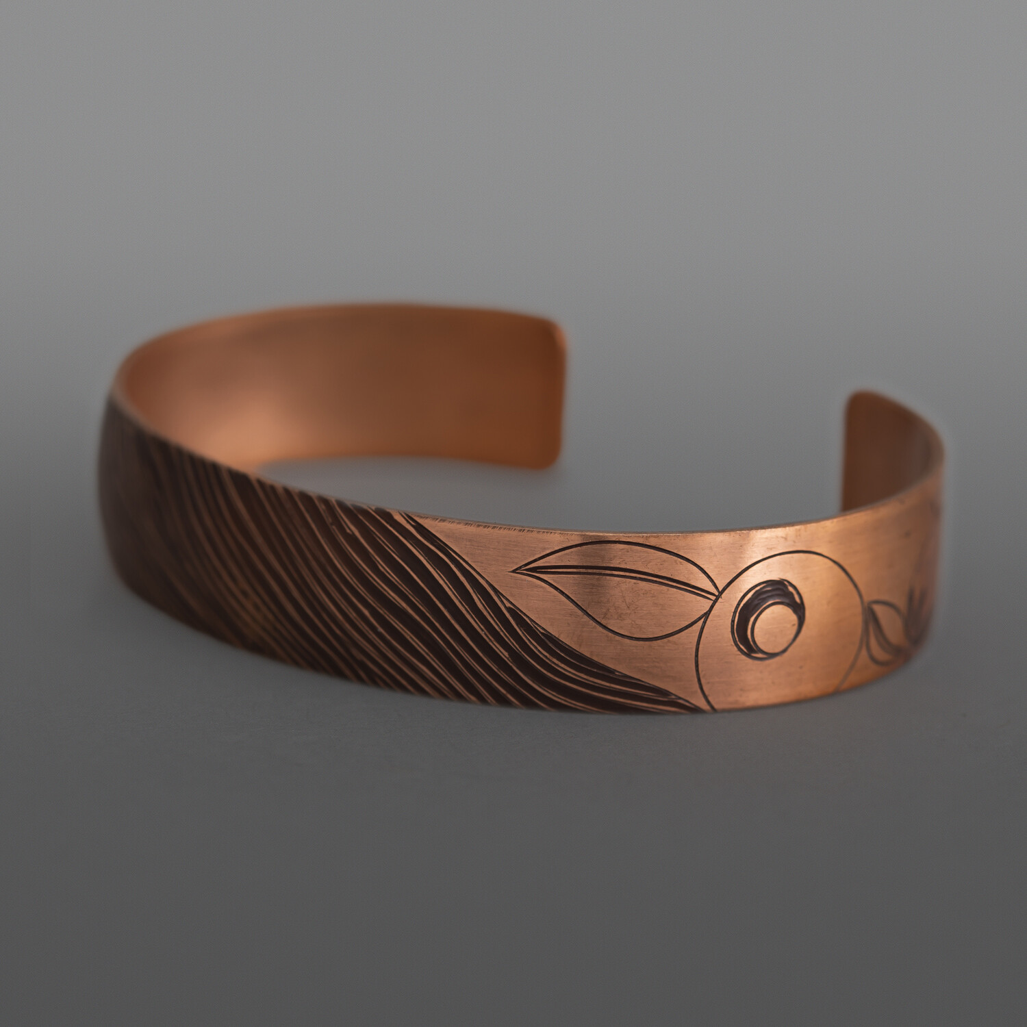 """Sharing Berries Set Jennifer Younger Tlingit Heat-patina copper 6"""" x ½"""" each, 5 pieces $1750"""