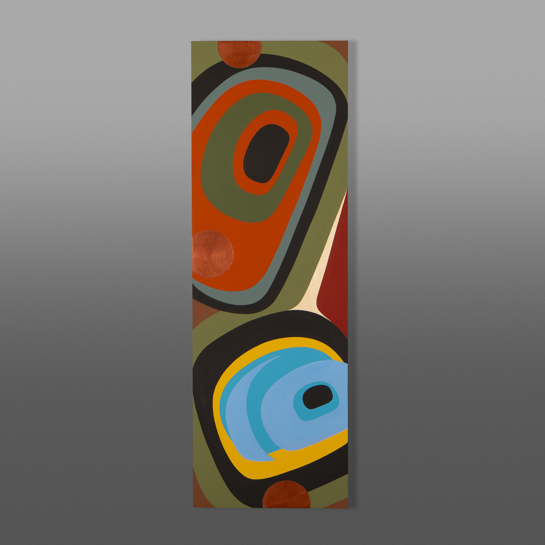 "An Autumn Day II Steve Smith - Dla'kwagila Oweekeno Acrylic on birch panel 12"" x 36"" $1600"