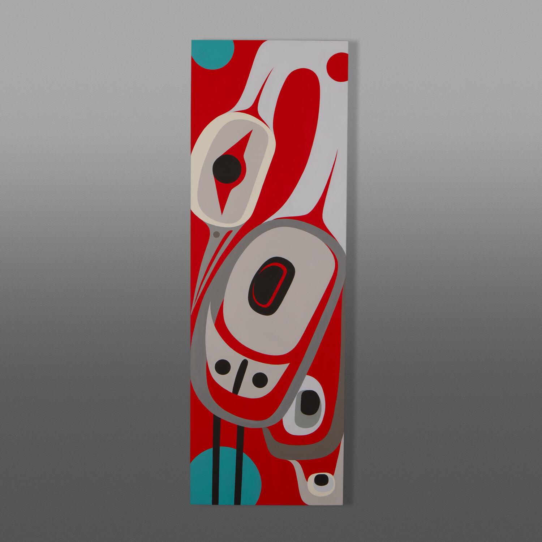 """Red Sky at Night Steve Smith - Dla'kwagila Oweekeno Acrylic on birch panel 12"""" x 36"""" $1800"""