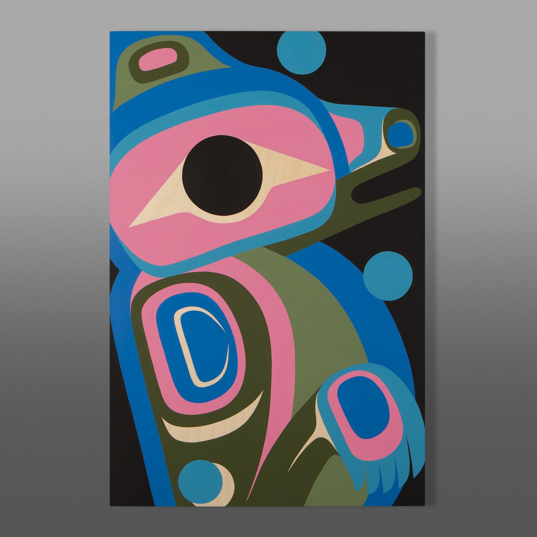 """Courageous (Young Bear) Steve Smith - Dla'kwagila Oweekeno Acrylic on birch panel 24"""" x 36"""" $3400"""