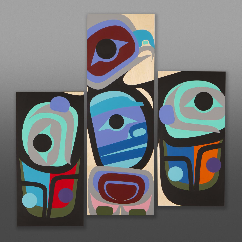 "Vigilant Hawk Steve Smith - Dla'kwagila Oweekeno Acrylic on birch panel 36"" x 36"" $4000"