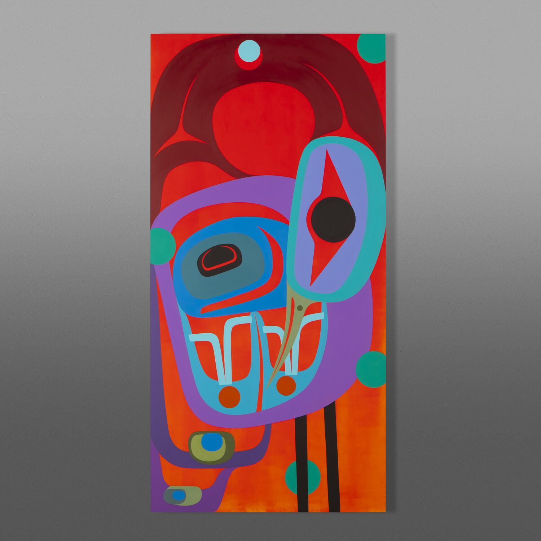 "Heron and Setting Sun Steve Smith - Dla'kwagila Oweekeno Acrylic on birch panel 24"" x 48"" $4800"
