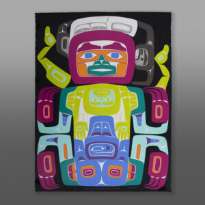 """Pete Carroll Trying to Wear A Mask  Alison Bremner Tlingit  Acrylic on Arches paper, unframed 30"""" x 22""""  $6000"""