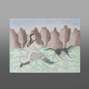 "Running Across the Tundra Kenojuak Ashevak (1927-2013) Inuit Lithograph (1989) 26"" x 20""  040-2086"