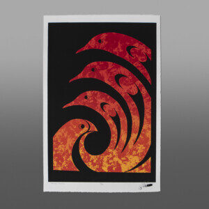 "Though the Fire Peter Boome Coast Salish Serigraph 22"" x 15"" $200"
