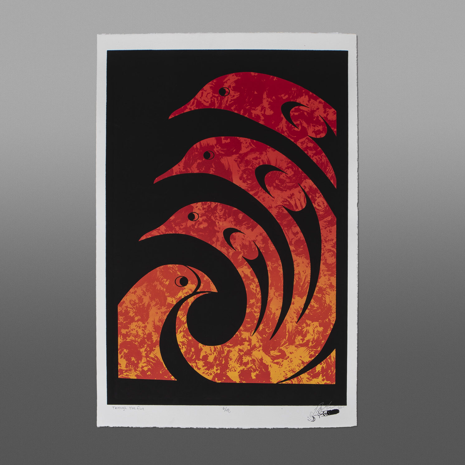 """Though the Fire Peter Boome Coast Salish Serigraph 22"""" x 15"""" $200"""