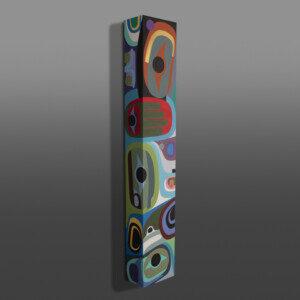 """Happy - As Always Steve Smith - Dla'kwagila Oweekeno Acrylic on wood 48"""" x 8"""" x 5"""" $6500"""