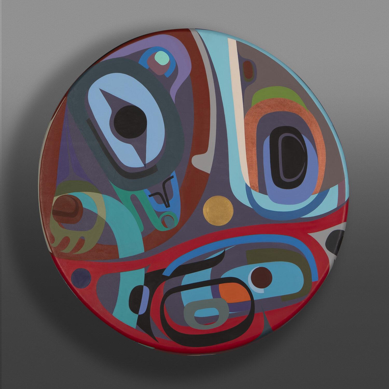 "In the Midst of Time Steve Smith - Dla'kwagila Oweekeno Acrylic on deerhide drum 24"" dia. x 3"" $6500"