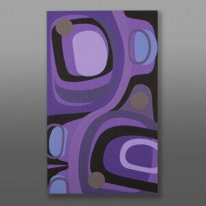 """Purple Haze Steve Smith - Dla'kwagila Oweekeno Acrylic on birch panel 40"""" x 24"""" x 1½"""" $3800"""