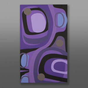 "Purple Haze Steve Smith - Dla'kwagila Oweekeno Acrylic on birch panel 40"" x 24"" x 1½"" $3800"