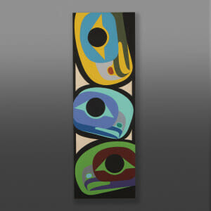 "Eagle Family Steve Smith - Dla'kwagila Oweekeno Acrylic on birch panel 36"" x 12"" x 1½"" $1700"