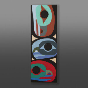 "Raven Family Steve Smith - Dla'kwagila Oweekeno Acrylic on birch panel 36"" x 12"" x 1½"" $1700"