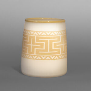 "Ivory Snow BasketPreston Singletary TlingitBlown & sand-carved glass 4½"" dia. x 6¼""""$3000"